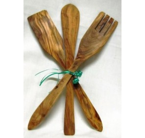 Cutlery olive wood. 30 cm