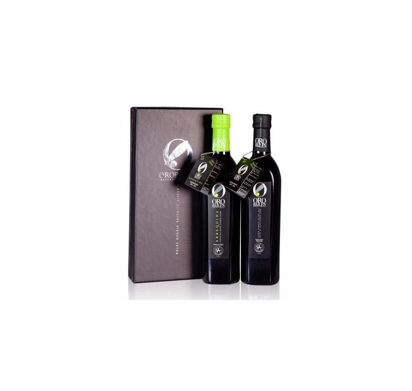 Estuche Oro Bailén Reserva Familiar Picual y Arbequina. 2 botellas 500 ML