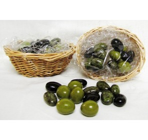 Gift Wicker basket with 75 gr Olives chocolate candy. Custom label.