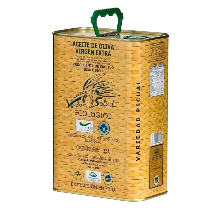 Verde Salud Organic. Picual Olive oil. 2,5 Liter