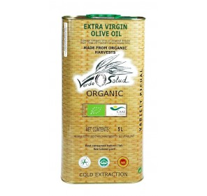 Verde Salud Organic. Picual Olive oil. Tin 5 liter