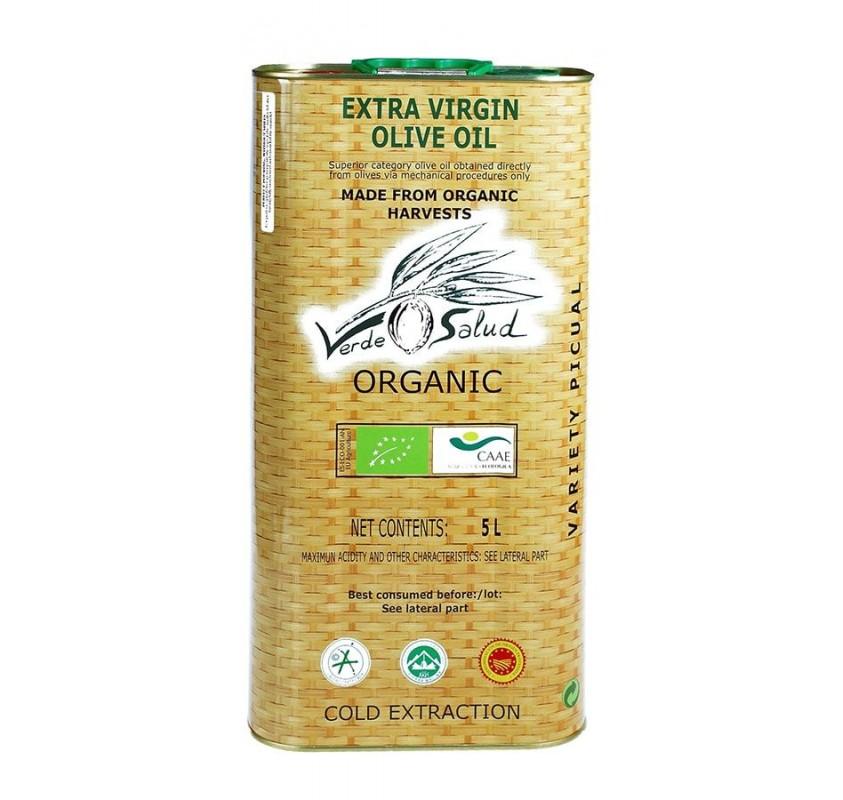 Verde Salud Ecológico. Aceite de oliva Picual. Lata 5 litro.