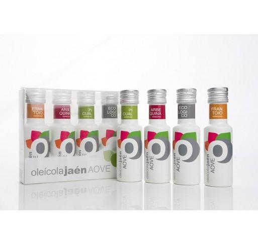 AOVE Oleicola Jaen. Box with 4 varieties. 100 ML.