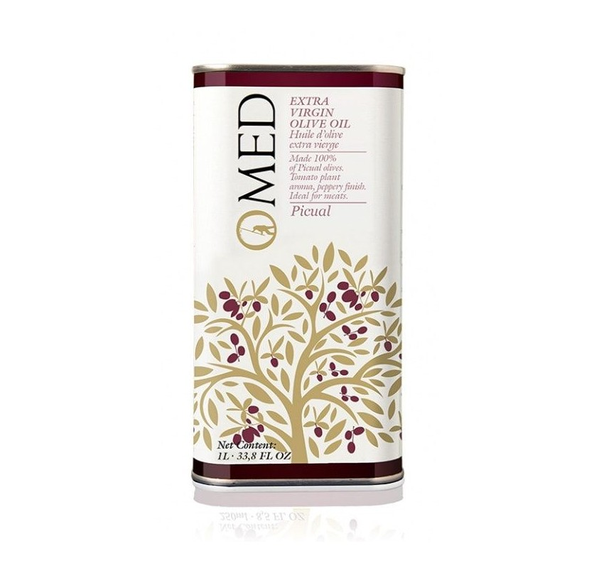 Omed. Aceite de oliva Picual. 9 Latas de 1 Litro