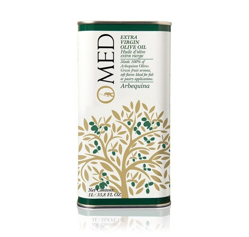 Omed. Arbequina Olive oil. 9 tins of 1 Liter.