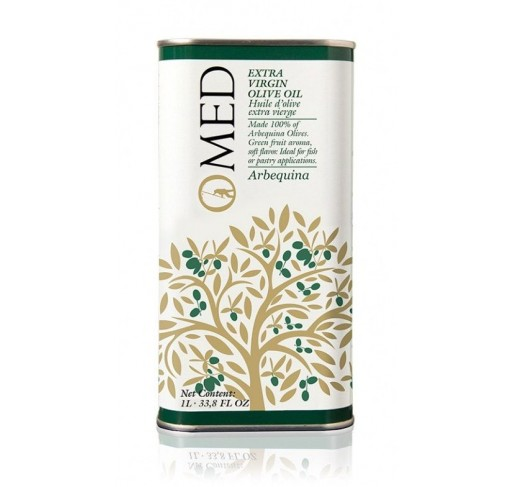 Omed. Aceite de oliva virgen extra Arbequina. 9 Latas de 1 Litro.
