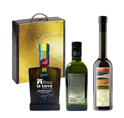Estuche regalo de los tres mejores aceites de oliva ecológicos del mundo.
