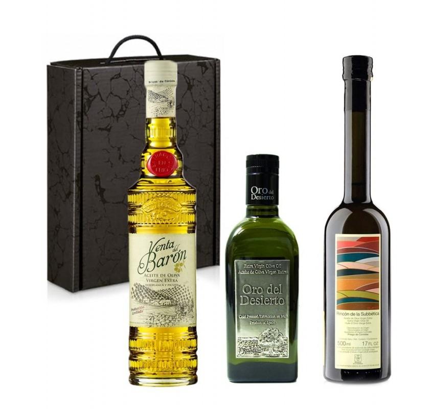 Estuche regalo de los tres mejores aceites de oliva del mundo.