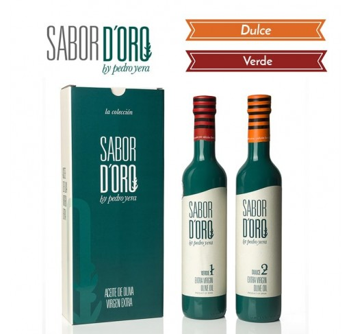 Sabor de Oro. Gift Box with Verde and Dulce Bottles. 500 ml