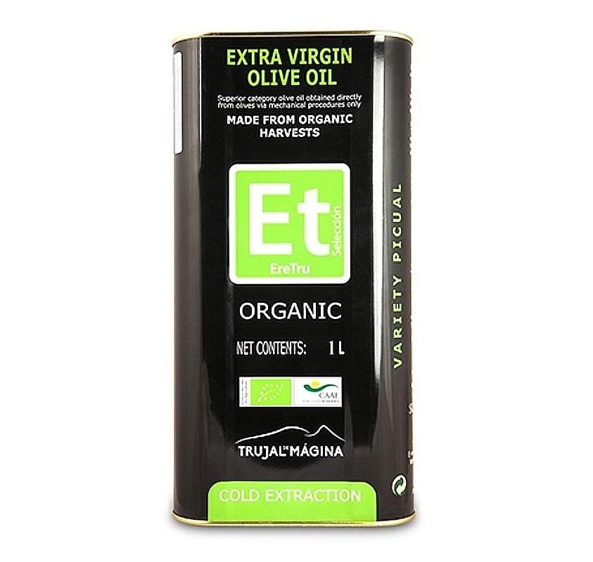 Eretru. Aceite de oliva Ecológico. 12 Latas de 1 Litro