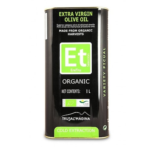 Eretru. Organic Olive oil. 12 tins of 1 Liter.