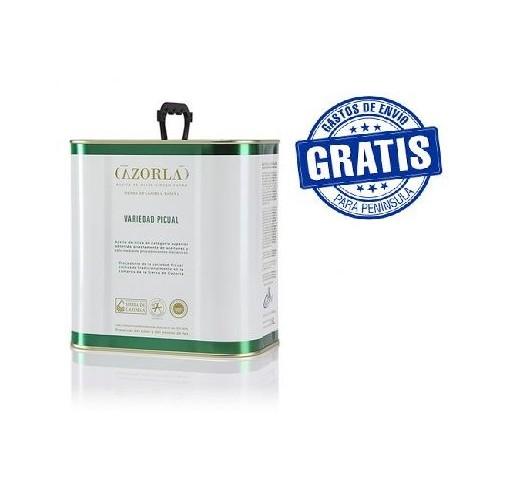 Cazorla. Aceite de oliva picual. Caja de 6 latas de 2,5 litros