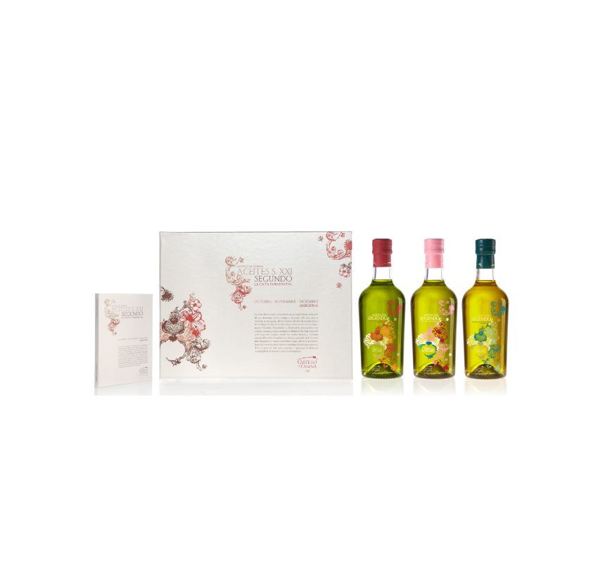 Castillo de Canena, AOVECastillo de Canena,extra virgin olive oil. Horizontal tasting box. ( 3 uds).