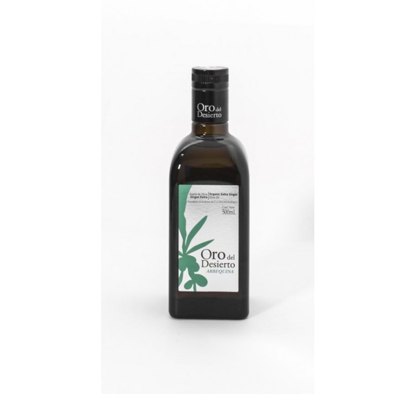 Oro del Desierto. Aceite de oliva Ecológico. 500 ml. Caja de 12 uds.