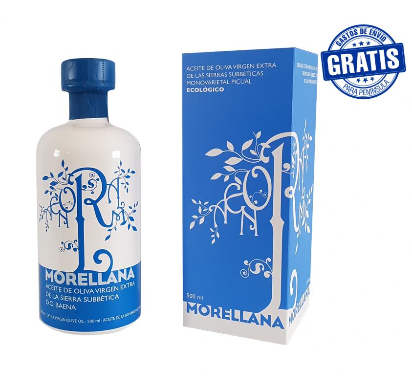 Morellana Picual + estuche. Botella cristal 500ml. Caja de 6 unidades.