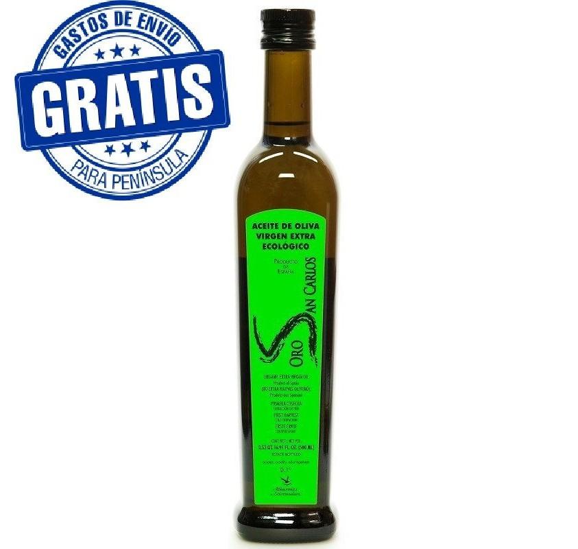 Oro San Carlos Ecológico. Botella de 500 ml. Caja de 12 unidades.