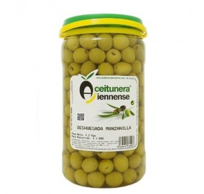 Manzanilla pitted olives. 1,2 Kg