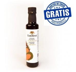 Balsamic ecological vinegar UnOlivo. 250 ml glass bottle. Box of 6 bottles.