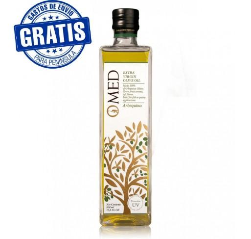 Omed. Aceite de oliva virgen extra Arbequina. Caja de 9 botellas.