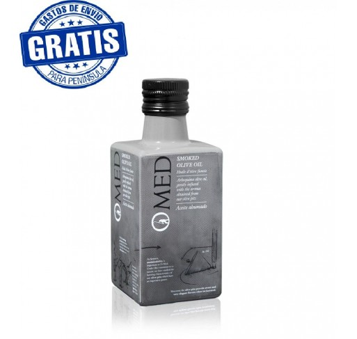Omed. Smoked extra virgin olive oil . Bottle of 250 ml. Box of 9 units.