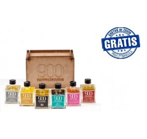 Wooden box of 6 products.