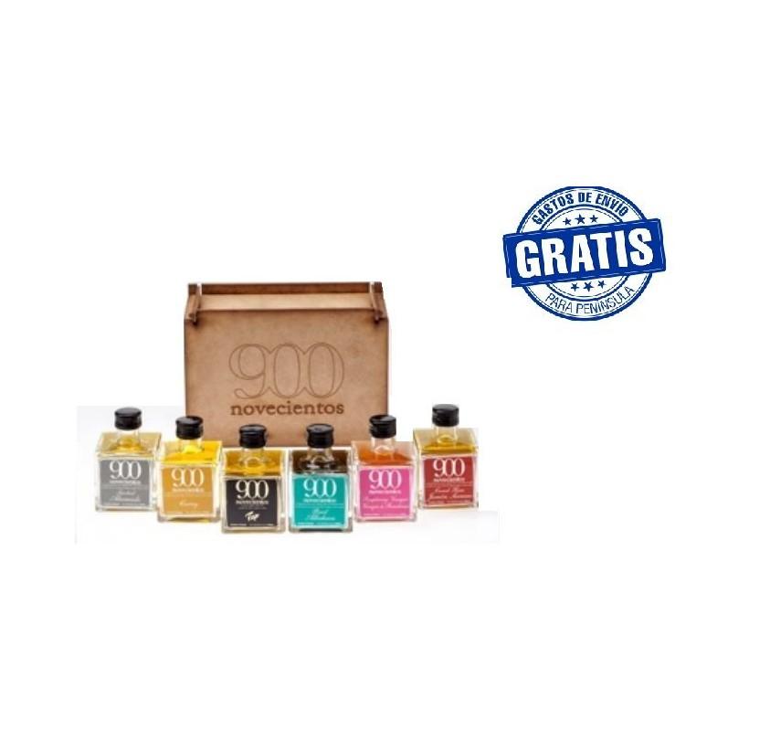Caja madera con 6 unidades productos 900.