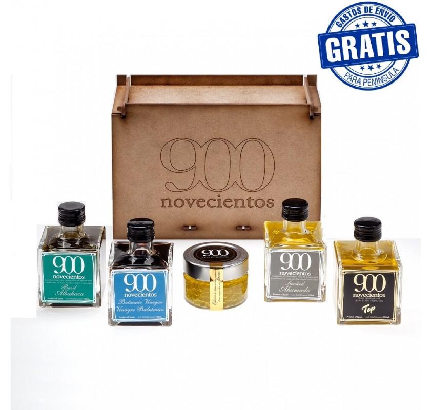 Caja madera con 5 unidades productos 900.