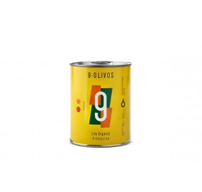 "9·Olivos ""Life Organic"" Arbequina 500 ml. Box of 12 tins."