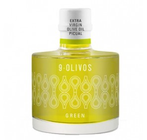 9-Olivos. Green. 200 ml bottle. Box of 12 bottles.