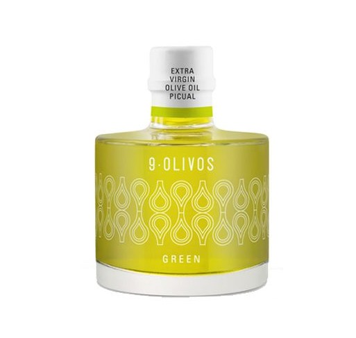 "9-Olivos ""Green"". 200 ml bottle. Box of 12 bottles."