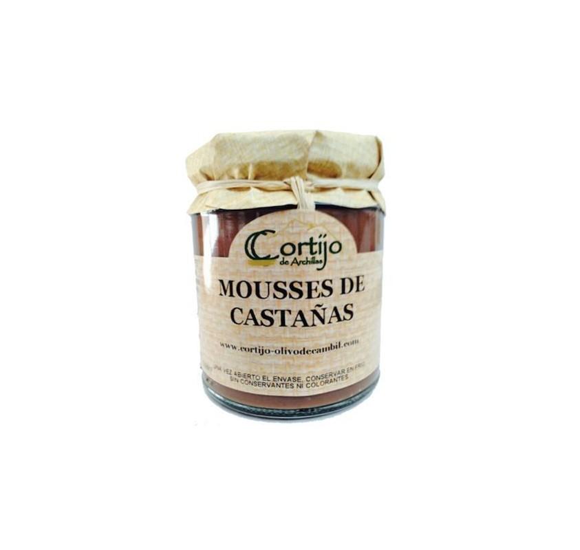 Mousse de castañas al chocolate.