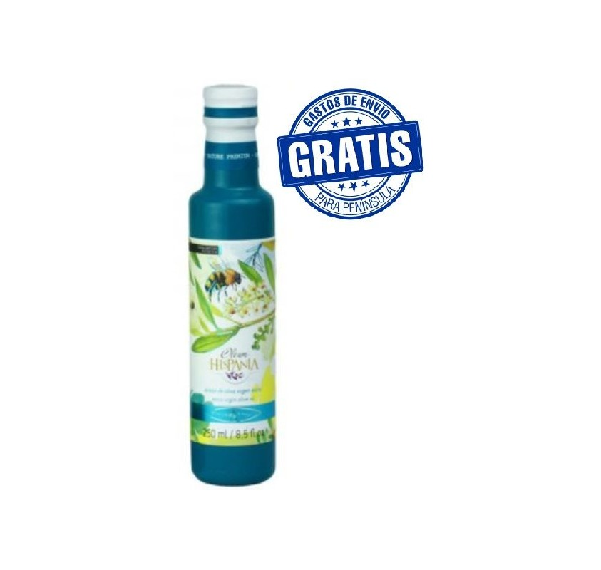 Oleum Hispania olive Oil. Arbequina. Glass bottle.