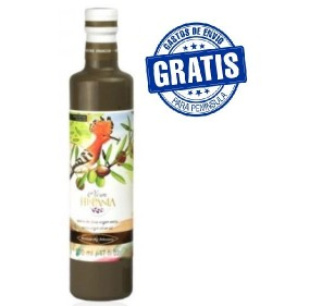 Olive oil Oleum Hispania. Arbosana variety.Glass bottle.