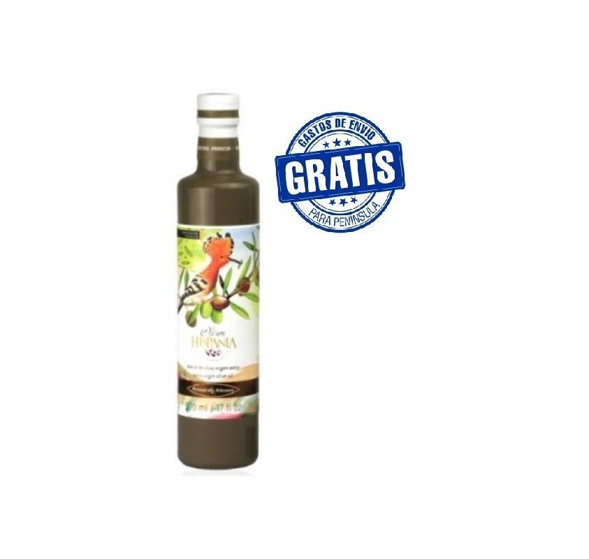 Olive oil Oleum Hispania. Arbosana variety.Glass bottle.