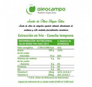 Oleocampo Ecológico. Caja de cuatro latas de 2,5 litros.