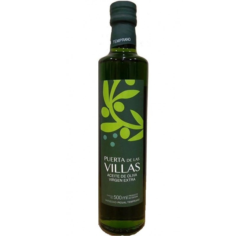 Extra virgin olive oil. Early harvest. Picual variety. Puerta de las Villas. 12X500 ml bottle glass