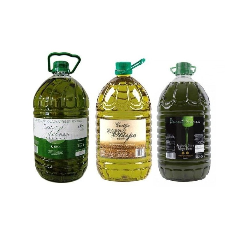 Selected 3 oils from Jaen. Picual olive oil. 3 Bottles of 5 Liters