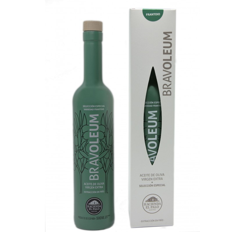 Bravoleum. Frantoio olive oil. Case with Bottle of 500 ml.