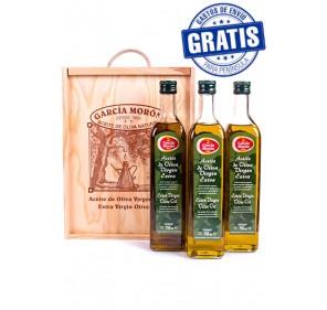 García Morón. EVOO. Wooden case. 3 bottles of 750 ml.