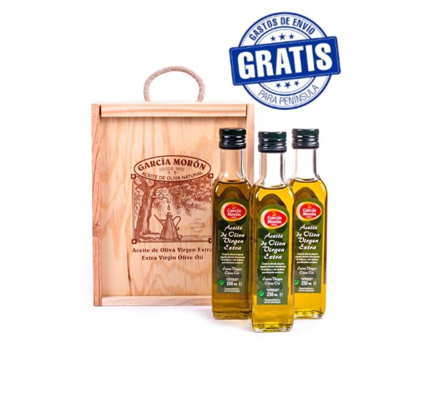 García Morón. AOVE. Estuche de madera. 3 botellas de 250 ml.
