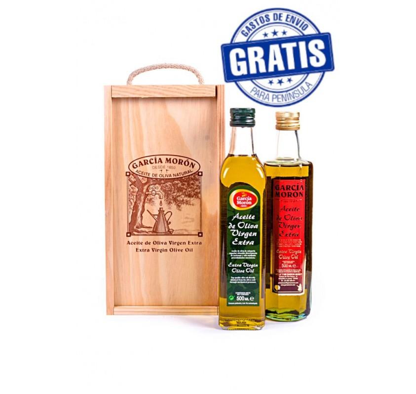 García Morón. EVOO. Wooden case mixed. 2 bottles of 500 ml.