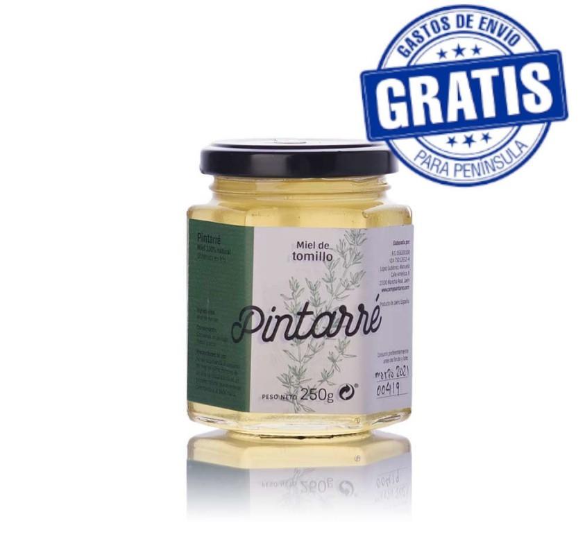 Pintarré. Organic Thyme Honey. Box of 20 x 250 gr.