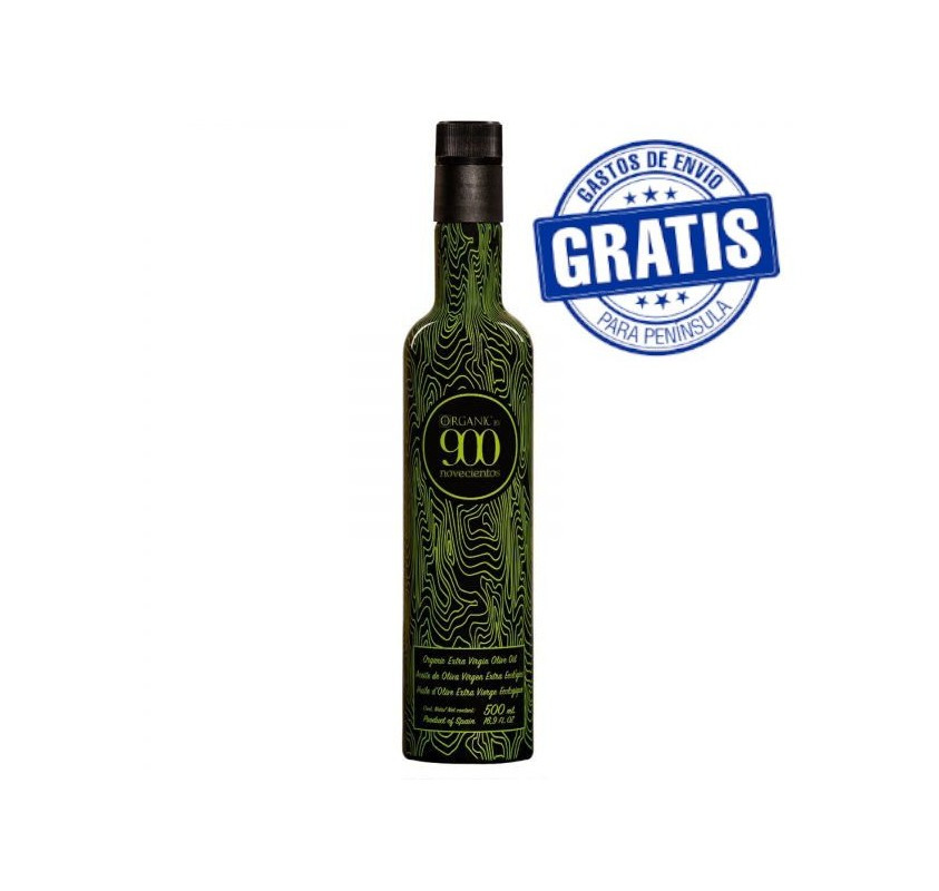 Organic EVOO 900 ORGANIC. Box of 12 bottles of 500 ml.