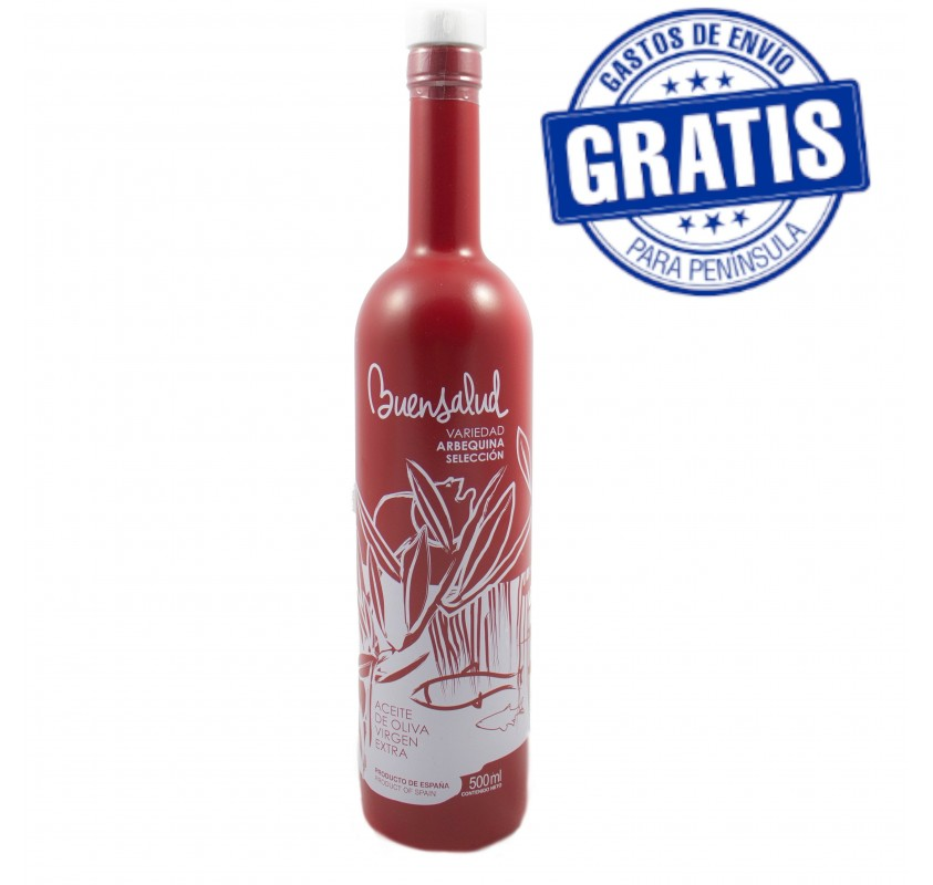 Buensalud Arbequina Selection. Box of 12 bottles of 500 ml.