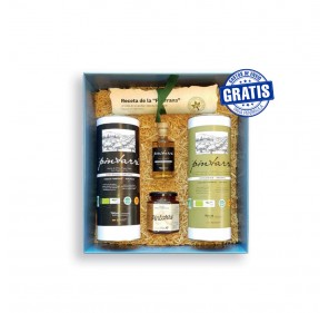Pintarré. Box with 2 units of: 2 cases 700 ml + bottle 100 ml + jar of honey 250g + pipirrana recipe.