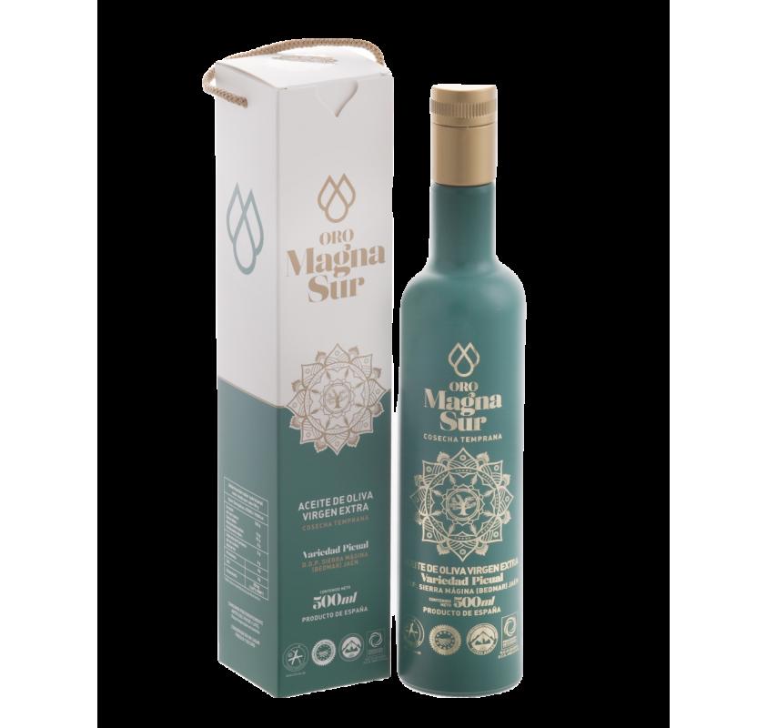 EVOO Magnasur. Athenea case, 500 ml bottle.