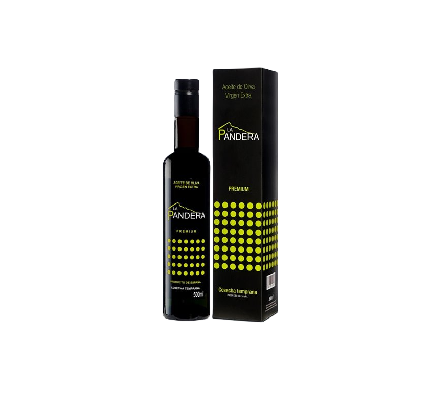 AOVE La Pandera Premium. Estuche con botella de 500 ml.
