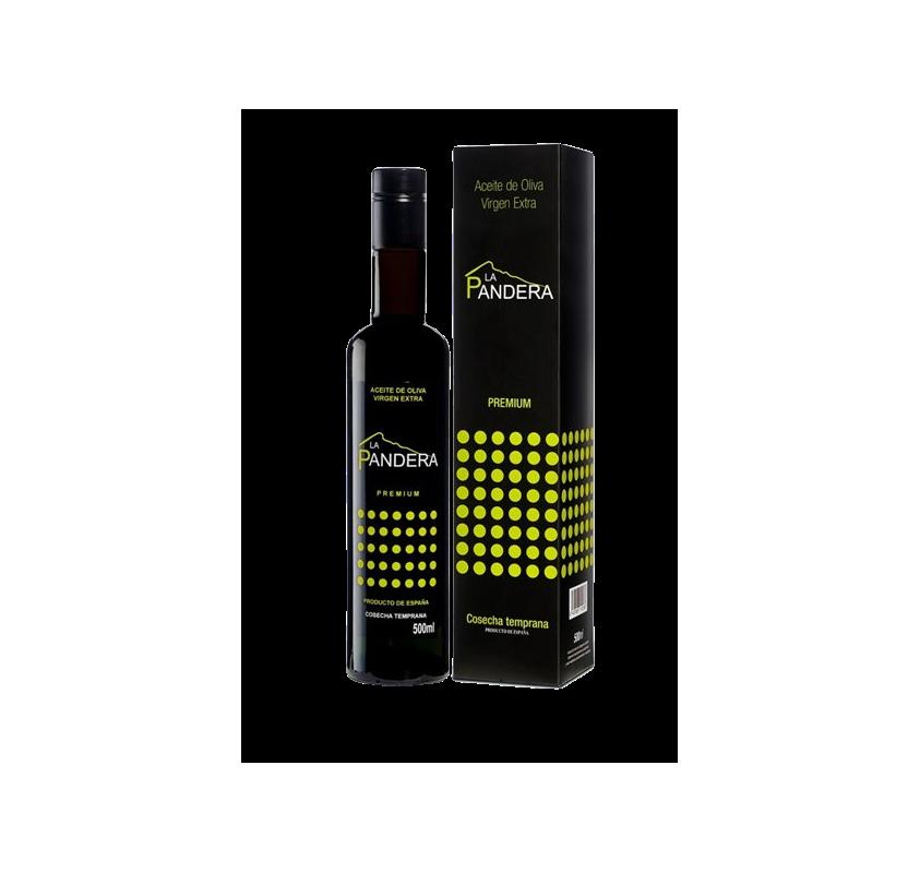 EVOO La Pandera Premium. Case with 500 ml bottle.