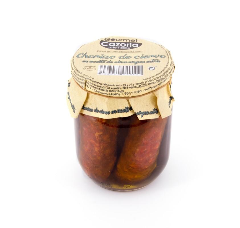 Chorizo de ciervo en aceite de oliva virgen extra. 8 x 530 gr.