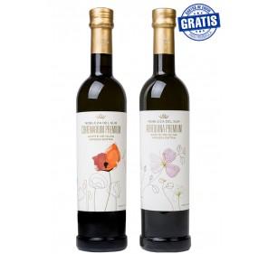 Nobleza del Sur, Centenarium premium + Arbequina premium. Box of 3 + 3 units x 500 ml.